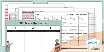 PlanIt - RE Year 5 - Jesus the Healer Unit Assessment Pack  - jesus, miracle, assessment, jigsaw targets, NC aims, spreadsheet, progress, recording.