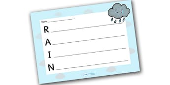 Rain Acrostic Poem Template - rain acrostic poem, weather acrostic poems, weather and seasons, rain acrostic template, wind poem template, rain, weather