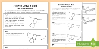 KS2 How to Draw a Bird Step-by-Step Instructions - KS1 & 2 RSPB Big School's Birdwatch (3 Jan-17 Feb 2017), RSPB, school, bird, bird watch, drawing bi