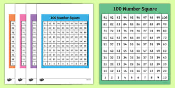 100 (Hundred) Square - Bottom to Top - 100 Square, number square, hundred square, Counting, Numbers 0-100