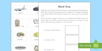 Mardi Gras Trip Planning Cut and Stick Activity Sheet - Mardi Gras, Fat Tuesday, Shrove Tuesday, Carnival, Cutting Skills, Glue, KS1, New Orleans, Planning