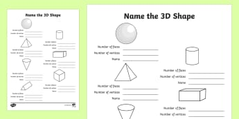 Features of 3D Shapes - Write-Up Activity Sheet