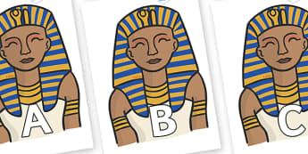 A-Z Alphabet on Pharaoh - A-Z, A4, display, Alphabet frieze, Display letters, Letter posters, A-Z letters, Alphabet flashcards