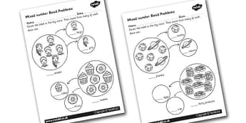 Mixed Number Bond Problems Worksheet - number bonds, numeracy