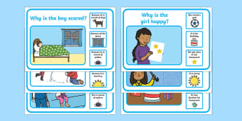 'Why' and 'Because' Question Scene Cards - question words, questions, games, question