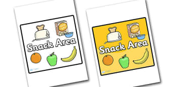 Snack Area Sign - sign, display sign, area display sign, snack area sign, snack area display poster, area sign, area, classroom areas, school areas, classroom area signs, topic signs, topic area signs