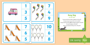 At the Park Number Recognition Busy Bag Prompt Card and Resource Pack - EYFS Parks and Gardens, playgrounds, counting, numeral, numeracy