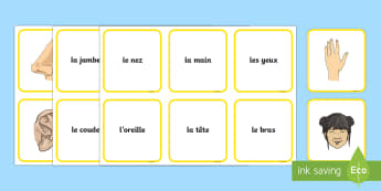 Parts of the Body Snap Card Game French - French Games, french body parts, french snap games, french matching games.,Scottish-translation
