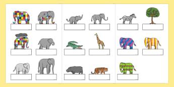 Self Registration to Support Teaching on Elmer - Elmer, Elmer the elephant, resources, Elmer story, patchwork elephant, PSHE, PSE, David McKee, colours, patterns, story, story book, story book resources, story sequencing, story resources, self regist