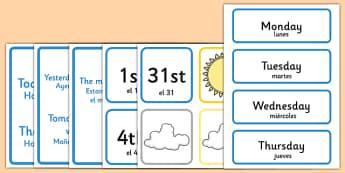 Weather Calendar Spanish Translation - spanish, Weather calendar, Weather chart, weather, calendar, months, days, weather display, date display, rain, sun, snow, fog, cloud