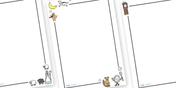 Nursery Rhymes Page Borders - nursery rhymes, rhyme, nursery, songs, singing, popular, page border, border, writing template, writing aid, writing