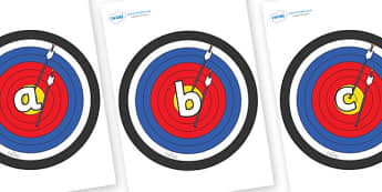 Phase 2 Phonemes on Archery Targets - Phonemes, phoneme, Phase 2, Phase two, Foundation, Literacy, Letters and Sounds, DfES, display