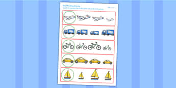 Transport Size Matching Worksheet - transport, size, match, order