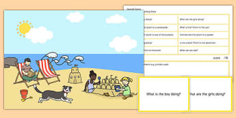 Seaside Scene Blanks Level 1 Questions - receptive language, expressive language, verbal reasoning, language delay, language disorder, comprehension, autism