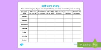 Self-Care Diary Young People & Families Case File Recording Planning Template - Young People & Families Case File Recording, referral, chronology, contents page,buddy system, safeg