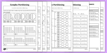Complex Partitioning of 2-Digit Numbers Differentiated Activity Sheet Pack, worksheet