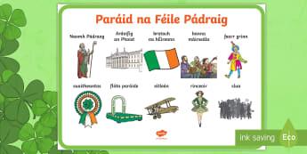 Paráid na Féile Pádraig Large Display Poster Gaeilge - ROI - St. Patrick's Day Resources, paráid na féile Pádraig, parade, Ireland, Irish, Gaeilge, ora