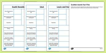Scottish Islands Fact File Activity Sheets-Scottish, worksheet