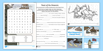Scott of the Antarctic Resource Pack - history, significant, individuals, antarctica, south, pole, primary, nature, geography, maps, visual, aid, display, activities, work