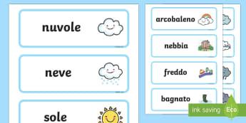 Il Tempo Metereologico Parole Illustrate - il, tempo, meteo, metereologico, parole, illustrate, illustrazioni, vocaboli, neve, pioggia, sole, i