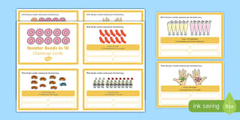 Number Bonds to 10 Stories Challenge Cards - number bonds, 10, stories, challenge cards, numeracy, maths