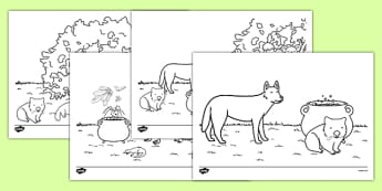 The Stew Colouring Sheets - australia, wombat stew, marcia k vaughan, story book, colouring sheets