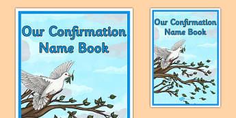 Confirmation Name Book Cover - irish, gaeilge, religion, confirmation, name, book cover, writing, template