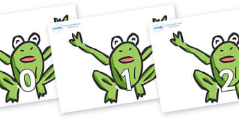 Numbers 0-50 on Frogs - 0-50, foundation stage numeracy, Number recognition, Number flashcards, counting, number frieze, Display numbers, number posters