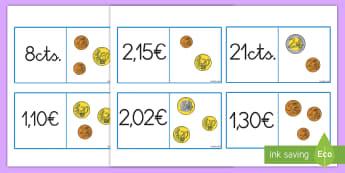 Tarjetas de emparejar: El valor de las monedas - dinero, monedas, euros, céntimos, tarjetas, emparejar, parejas, pares, valor, valores, cantidades,