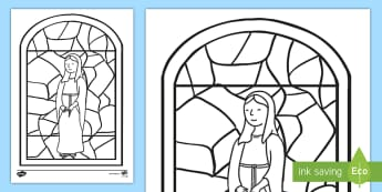 Mary Stained Glass Junior Colouring Page - Mary, May Altar, May, our mother, hair mary, religion, stained glass, sacred space, our Lady, cathol