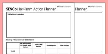 SENCo Half Term Action Planner - senco, action planner, action, planner, plan, half term