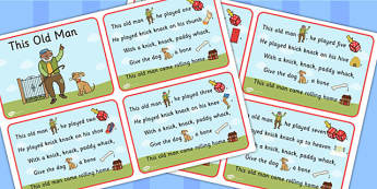 This Old Man Nursery Rhyme Cards - Rhymes, Card, Visual, Visuals