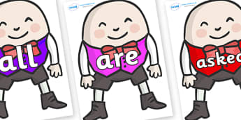 Tricky Words on Humpty Dumpty - Tricky words, DfES Letters and Sounds, Letters and sounds, display, words