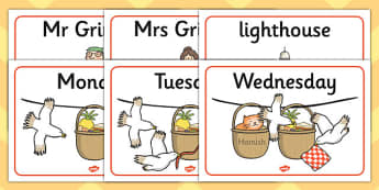 Story Sequencing to Support Teaching on The Lighthouse Keeper's Lunch - The Lighthouse Keeper's Lunch, Ronda Armitage, Mr Grinling, Mrs Grinling, seagulls, seaside, lunch, Hamish, resources, sandwhich, story, story book, story book resources, story s