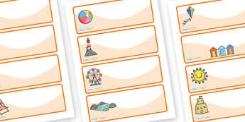 Editable Drawer - Peg - Name Labels (Seaside) - Classroom Label Templates, Resource Labels, Name Labels, Editable Labels, Drawer Labels, Coat Peg Labels, Peg Label, KS1 Labels, Foundation Labels, Foundation Stage Labels, Teaching Labels