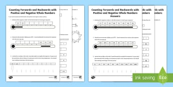 Counting Forwards and Backwards with Positive and Negative Whole Numbers Activity Sheet-Australia - maths, mathematics, numeracy, addition, add, sum, subtraction, minus, difference, takeaway, number,