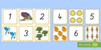 Sommer: Zahlen und Bilder 1 bis 10 Puzzle Spiel - Zahlen, 1 bis 10, Zahlen erkennen, Sommer, Puzzle, German