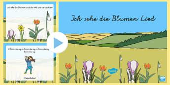 Ich sehe die Blumen Song PowerPoint -  Frühling, Jahreszeit, Blumen, Lieder und Reim, Musizieren, singen, spring, seasons, flowers, song,
