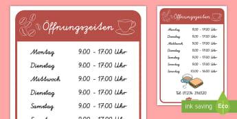 Café Öffnungszeiten Poster für die Klassenraumgestaltung - Kaffee trinken, Café, Cafe, Rollenspiel, Gruppenspiel, zusammen spielen,German