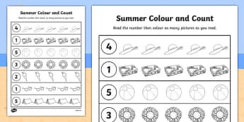 Summer Themed Count and Colour Sheet - colour, count, summer