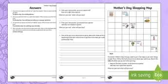 Mother's Day Shopping Map Activity Sheet - Mother's Day Maths, maths, mother, mother's day, mum, worksheet, location and transformation, ACMM
