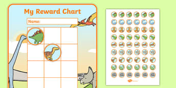 Dinosaur Sticker Reward Chart (30mm) - Dinosaur Reward Chart (30mm), dinosaur, reward chart, chart, reward, 30mm, 30 mm, stickers, twinkl stickers, award, certificate, well done, behaviour management, behaviour,