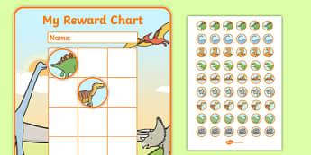 Dinosaur Sticker Reward Chart (30mm) - Dinosaur Reward Chart (30mm), dinosaur, reward chart, chart, reward, 30mm, 30 mm, stickers, twinkl stickers, award, certificate, well done, behaviour management, behaviour,