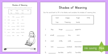 Shades of Meaning Fill in the Blank Activity Sheet - common core, missing word, cloze, Worksheet, kindergarten, ELA, Writing