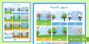 ملصق شهور السنة - شهور السنة، الشهور، أشهر السنة، أشهر، عربي، الفصول، فص