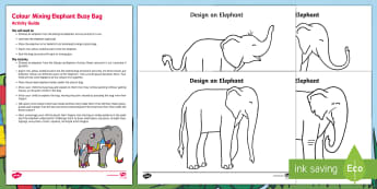 Colour Mixing Elephant Busy Bag Resource Pack for Parents - Elmer, David McKee, colour, wilbur, colour mixing, secondary colours, patchwork, elephant