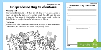 Independence Day Celebrations Activity Sheet - july amazing fact, US, facts, history, KS1, amazing fact, worksheet