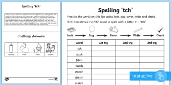 Year 1 Spelling Practice /ch/ Sound Spelt 'tch' Go Respond Activity Sheet - ks1, English, year 1, practice, home learning, home work, homework, Worksheet, practise, SPaG, spell