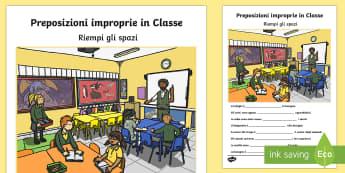 Proposizioni Improprie in Classe - proposizioni, improprie, grammatica, italiano, italian, esercizio