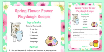 Spring Flower Power Playdough Recipe - Spring, flowers, playdough recipe, playdough, recipe, flower power